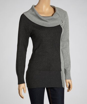 Light Gray Color Block Cowl Neck Sweater