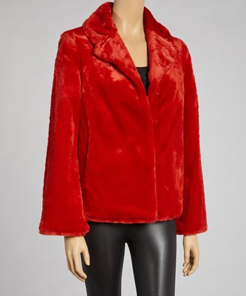 Red Artifacts Faux Fur Coat - Women