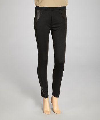 Black Side Faux Leather Leggings