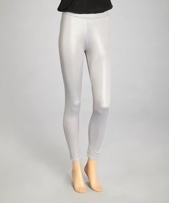 Gray Faux Leather Leggings - Women
