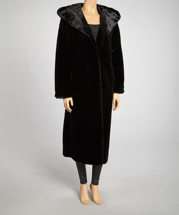 Black Faux Fur Long Coat - Women