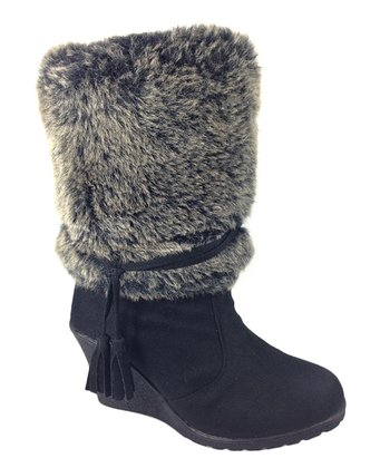 Black Faux Fur Alaska Boot