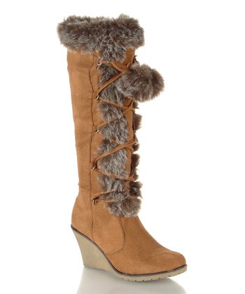 Tan Faux Fur Pom-Pom California Boot
