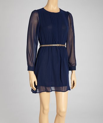 Navy Belted Semi-Sheer Dress