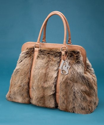 Ivory Faux Fur Satchel