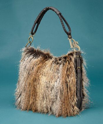 Light Brown Faux Fur Satchel