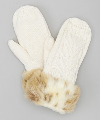 Ivory Wheatstitch Mittens
