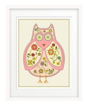 Pink Flowered Owl Print