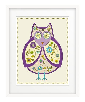 Purple Flowered Owl Print