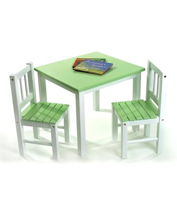 Green Kids' Table & Chairs Set