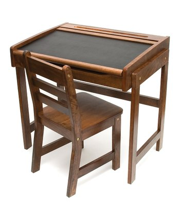 Walnut Kids' Chalkboard Desk & Chair