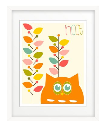 Orange Hoot Leaves Print