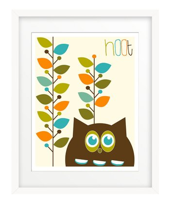 Brown Hoot Leaves Print