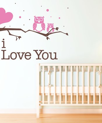 Pink Owl 'I Love You' Wall Decal