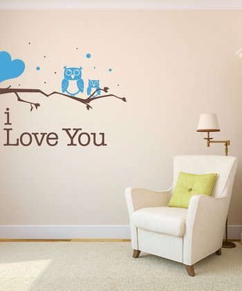 Blue Owl 'I Love You' Wall Decal