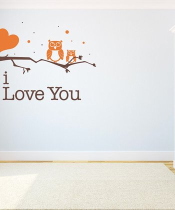 Persimmon Owl 'I Love You' Wall Decal