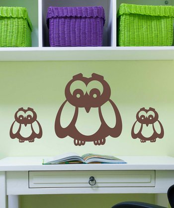 Brown Owl Family Wall Decal Set