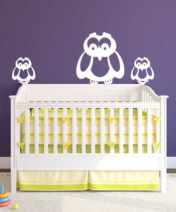 White Owl Family Wall Decal Set