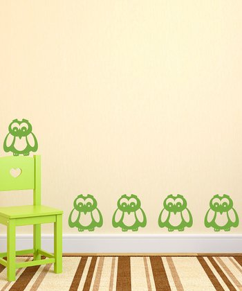 Green Owl Wall Decal - Set of Six