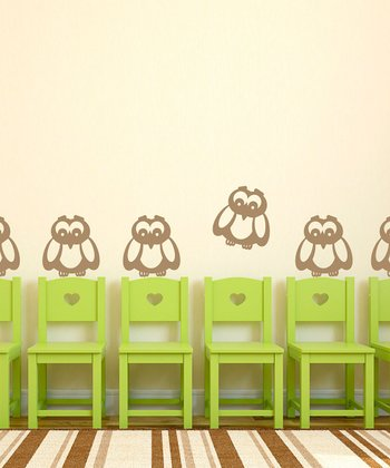 Light Brown Owl Wall Decal - Set of Six