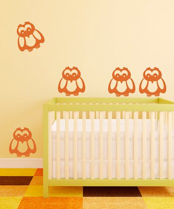 Orange Owl Wall Decal - Set of Six