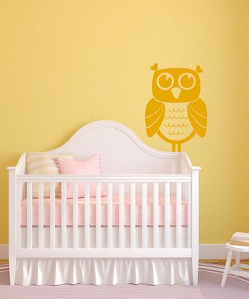 Yellow Owl Time Wall Decal