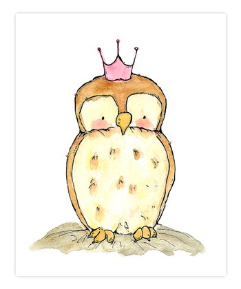 Pink Little Royal Owl Print