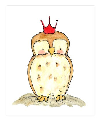 Red Little Royal Owl Print