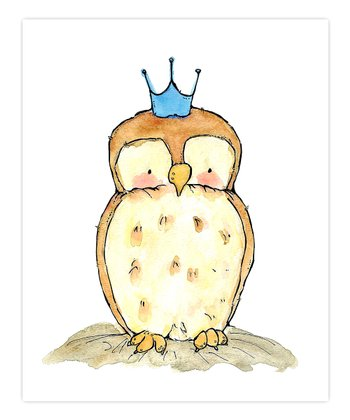 Blue Little Royal Owl Print