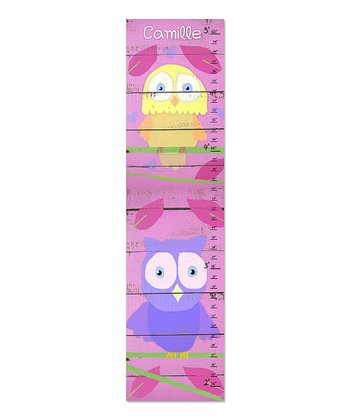 Little Owls & Pink  Wood Personalized Growth Chart