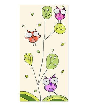 Little Owls & Leaves I Canvas Art
