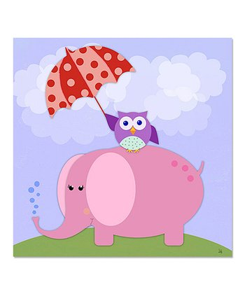 Owl & Pink Elephant Canvas Art