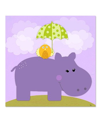Owl & Purple Hippo Canvas Art