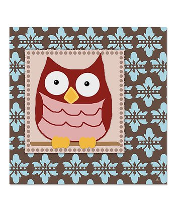 Damask Red Owl Canvas Art