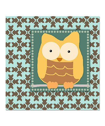 Damask Yellow Owl Canvas Art