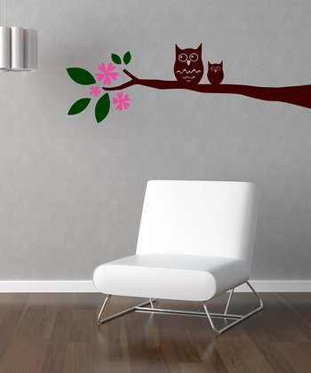 Hot Pink & Brown 'Owl on Leaved Branch' Wall Decal