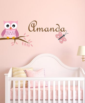 Owl & Butterfly Personalized Wall Decal