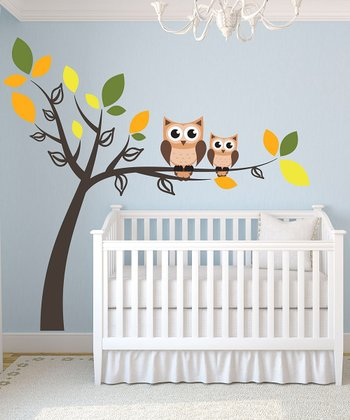 Double Owl Tree Wall Decal