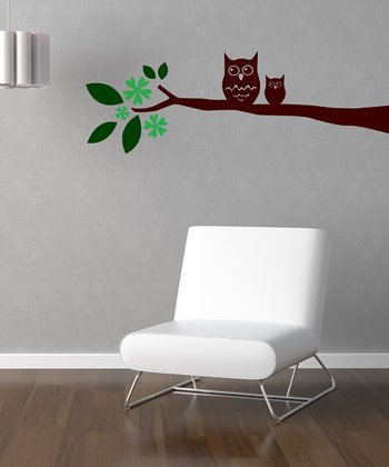Green & Brown 'Owl on Leaved Branch' Wall Decal