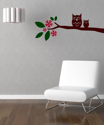 Red & Brown 'Owl on Leaved Branch' Wall Decal