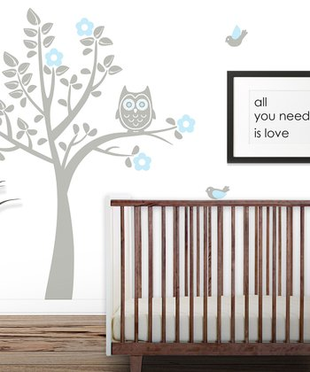 Gray & Powder Blue Owl Tree Wall Decal Set