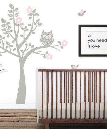 Gray & Baby Pink Owl Tree Wall Decal Set