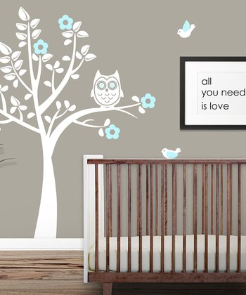 White & Powder Blue Owl Tree Wall Decal Set