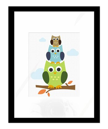 Stacked Owls Print