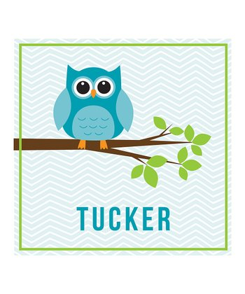 Blue Owl & Branch Personalized Print