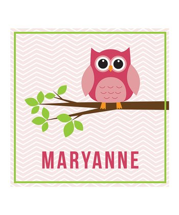 Pink Owl & Branch Personalized Print