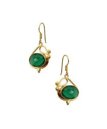 Green Onyx & Gold Oval Drop Earrings