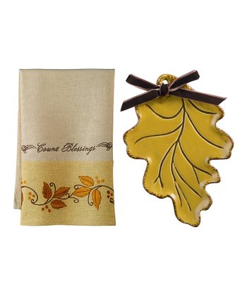 Yellow 'Count Blessings' Tea Towel & Soap Dish Set