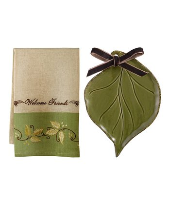 Green 'Welcome Friends' Tea Towel & Soap Dish Set