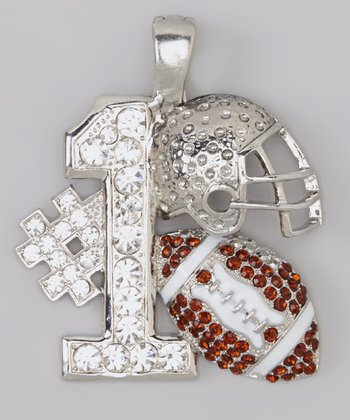 Brown '#1' Football & Helmet Pendant